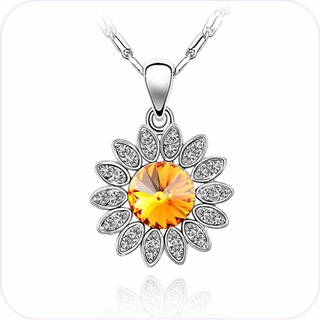 Sparkling Sunflower Crystal Pendant Necklace #24099