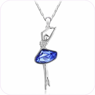 Azure Crystal Ballerina Pendant Necklace #24358