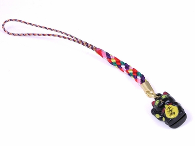 Maneki Neko Cell Phone Charm  (Black)