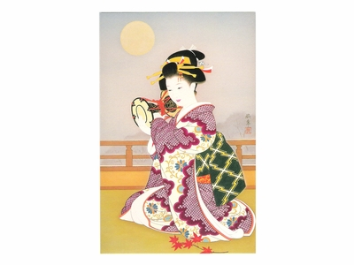 Japanese Woman Playing Traditional Tsuzumi Drum Greeting Card