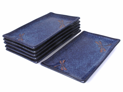 Blue Dragonfly Sushi Plate Set of Six