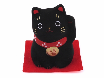 Small Black Clay Contemporary Japanese Good Luck Cat