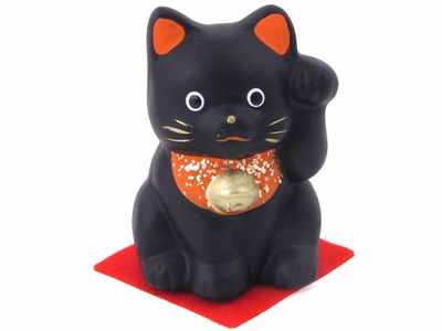 Black Ceramic Painted Maneki Neko/Lucky Cat Figurine