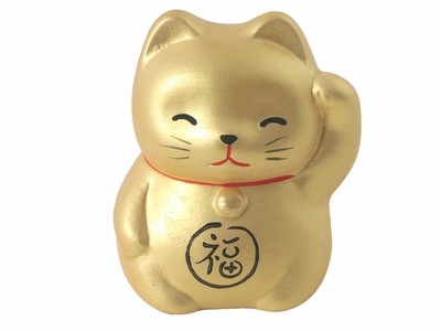 1-3/4 Inch Gold Lucky Cat Figurine