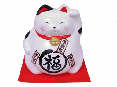 Eight Inch White Maneki Neko Cat
