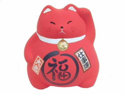 3-1/2 Inch Lucky Cat - Red