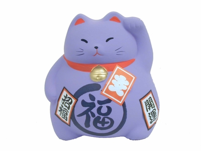 3-1/2 Inch Lucky Cat - Lavender