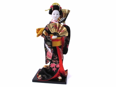 Fan Dance Geisha Doll