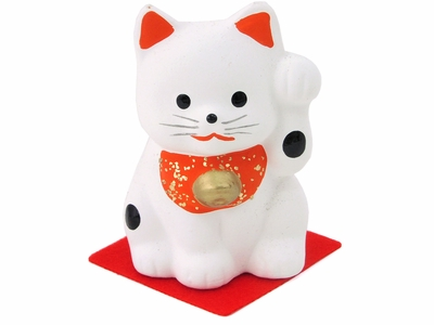 White Ceramic Painted Maneki Neko Fortune Cat