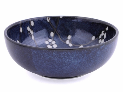 Dark Blue Cherry Blossom Serving Bowl