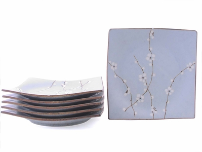 Nine Inch Square Japanese Cherry Blossom Plate Set for Six