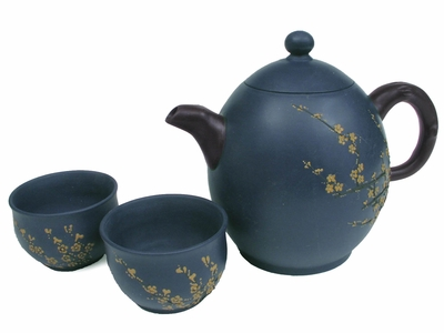 Plum Blossoms on Blue Yixing Teaset