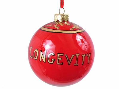 Dramatic Red Longevity Glass Eglomise Ornament (only 3 available)