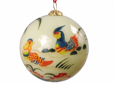 Mandarin Ducks Eglomise Glass Ornament (Only 2 available)