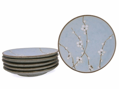 7-3/4 Inch Cherry Blossom Japanese Decorated Plates for Six