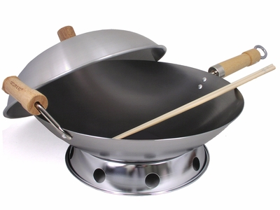 4 Piece 14 Inch Double Handle Round Bottom Wok Set