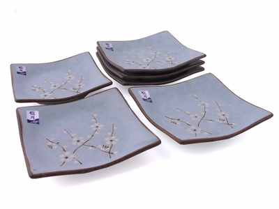 Cherry Blossom On Blue Square Dish – Set of Six