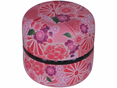 Sweet Pink Floral Bouquet Japanese Tea Canister