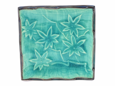 Turquoise Maple Leaves Plate