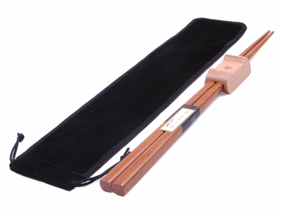 Dark Gin Tan Chopsticks With Rest and Black Bag