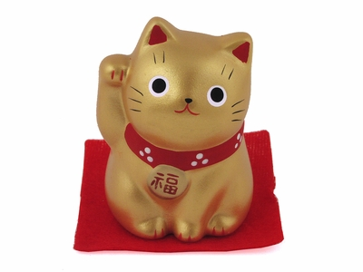 Small Gold Contemporary Japanese Lucky Cat
