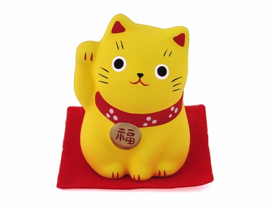 Small Yellow Clay Contemporary Good Luck Cat