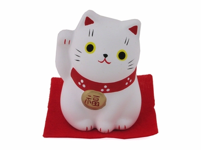 Small White Clay Contemporary Japanese Lucky Cat