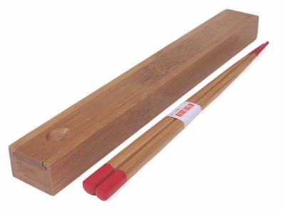 Boxed Red-Tipped Bamboo Chopsticks
