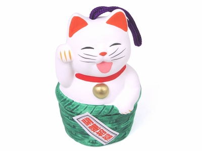 2-1/8 Inch Hanging Money Cat in Green Basket