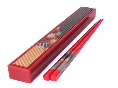 Red Travel Chopsticks with Carrying Case