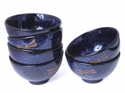 Blue Dragonfly Bowl Set