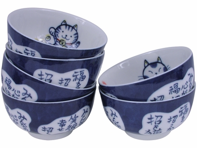 Cute Maneki Neko Lucky Rice Bowl Set for Six