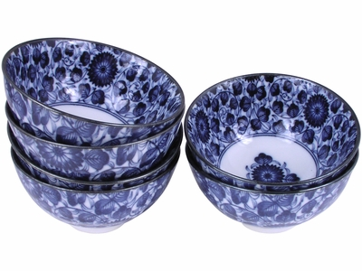 Charming Morning in the Garden Porcelain Japanese Rice Bowl Set for Six