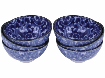 Delicate White and Blue Snow Blossom Japanese Karakusa Rice Bowl Set for Six