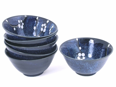 Dark Blue Cherry Blossom Rice Bowl Set