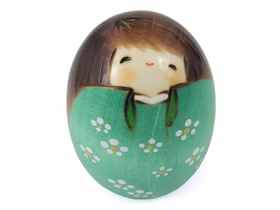 Teal Egg Shaped Kokeshi Doll