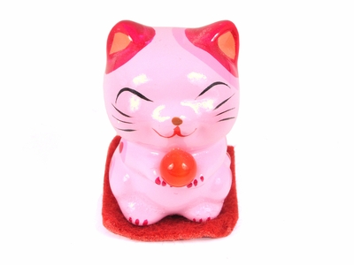 Pink Maneki Neko with Offering