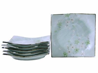 Green Cherry Blossom Dishes Square Appetizer Plate Set for Six