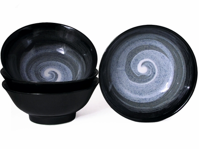 Modernist Moonlite Night Japanese Ramen Bowl Set for Four