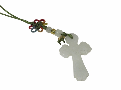 Small Genuine Jade Chinese Knot Cross Charm