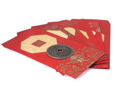 Special Message Coin Decorated Red Gift Envelopes