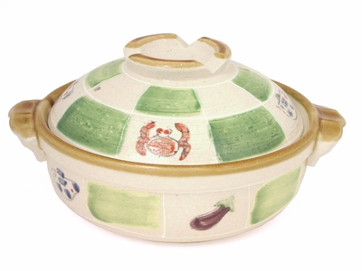 7-1/2 Inch Crab and Eggplant Donabe Pot