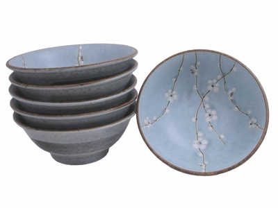 8-1/4 Inch Cherry Blossom Japanese Ramen Bowl Set for Six