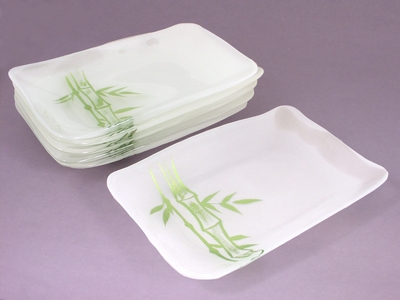 Frosted Green Bamboo Rectangular Plate Set (3 Sets Only)