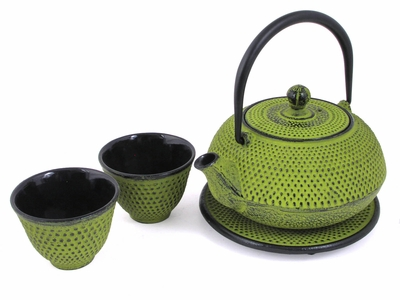 Multi Dots Bright Green Tetsubin Tea Set