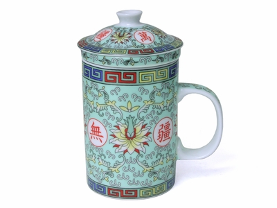 Longevity Chinese Symbol Green Infuser Tea Mug