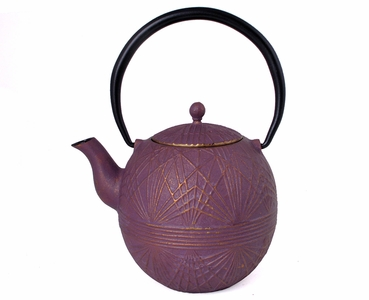 Embossed Lines Purple Cast Iron Teapot
