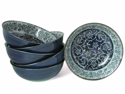 Rustic Dark Green, Blue and Cream Karakusa Dessert Bowl Set for Six