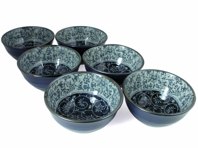Rustic Dark Green, Blue and Cream Karakusa Rice Bowl Set for Six