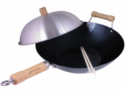 Bare Necessity Asian Carbon Steel Flat Bottom Wok Set